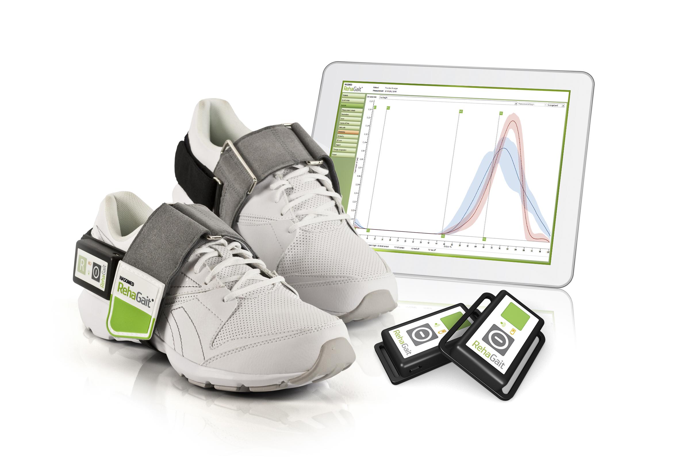 aidmoving Schuhe mit Sensoren und Tablet